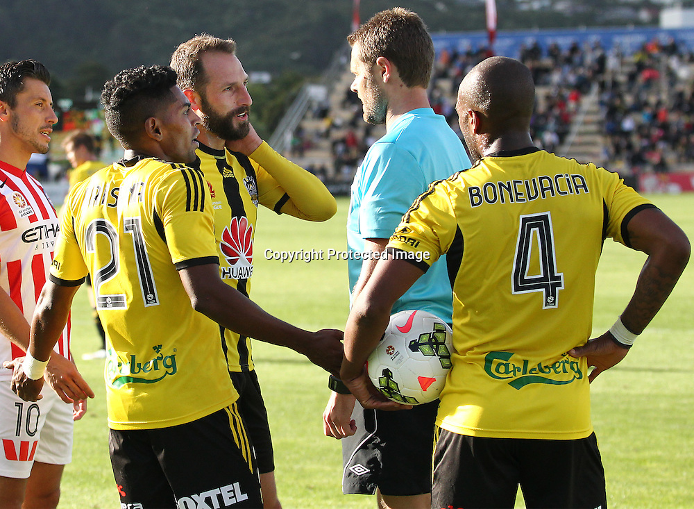 Phoenix' Andrew Durante & Roy Krishna question the referee during the A-League football match between the Wellington Phoenix & Melbourne City, at the Hutt Recreational Ground, Wellington, 14 February 2015. Photo.: Grant Down / www.photosport.co.nz