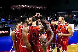 Bristol Flyers celebrate victory over Worcester Wolves - Mandatory by-line: Robbie Stephenson/JMP - 05/10/2018 - BASKETBALL - University of Worcester Arena - Worcester, England - Bristol Flyers v Worcester Wolves - British Basketball League