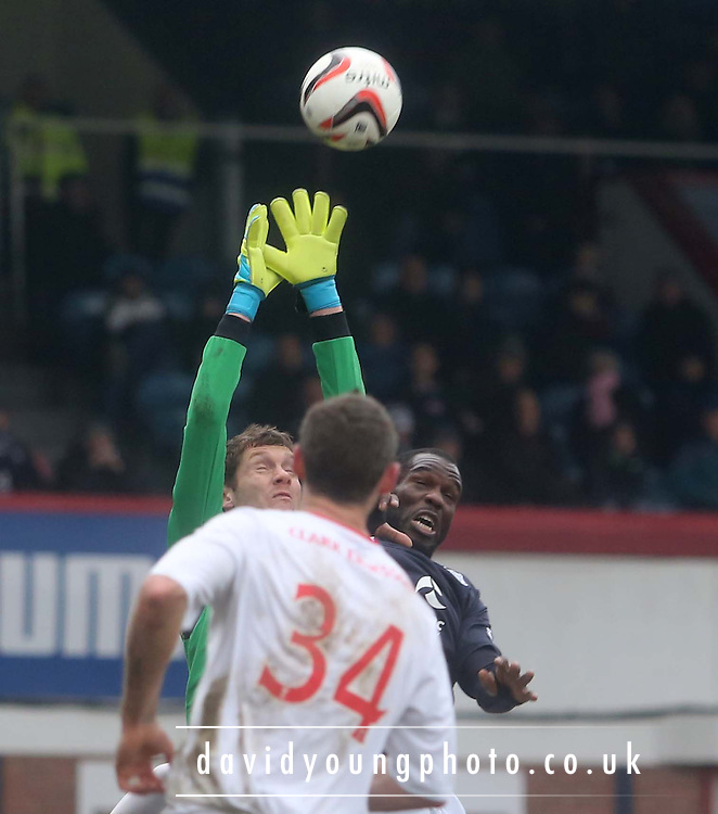 Michael McGovern denies Christian Nade - Dundee  v Falkirk - SPFL Championship at Dens Park<br /> <br />  - &copy; David Young - www.davidyoungphoto.co.uk - email: davidyoungphoto@gmail.com