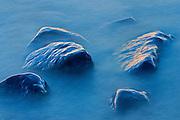 Waves crashing on rocks on shore of Lake Winnipeg<br /> Hillside Beach<br /> Manitoba<br /> Canada