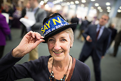"© Licensed to London News Pictures . 25/09/2015 . Doncaster , UK . A woman wearing a "" Say NO to the EU believe in Britain "" hat at the 2015 UKIP Party Conference at Doncaster Racecourse , this morning (Friday 25th September 2015) . Photo credit : Joel Goodman/LNP"