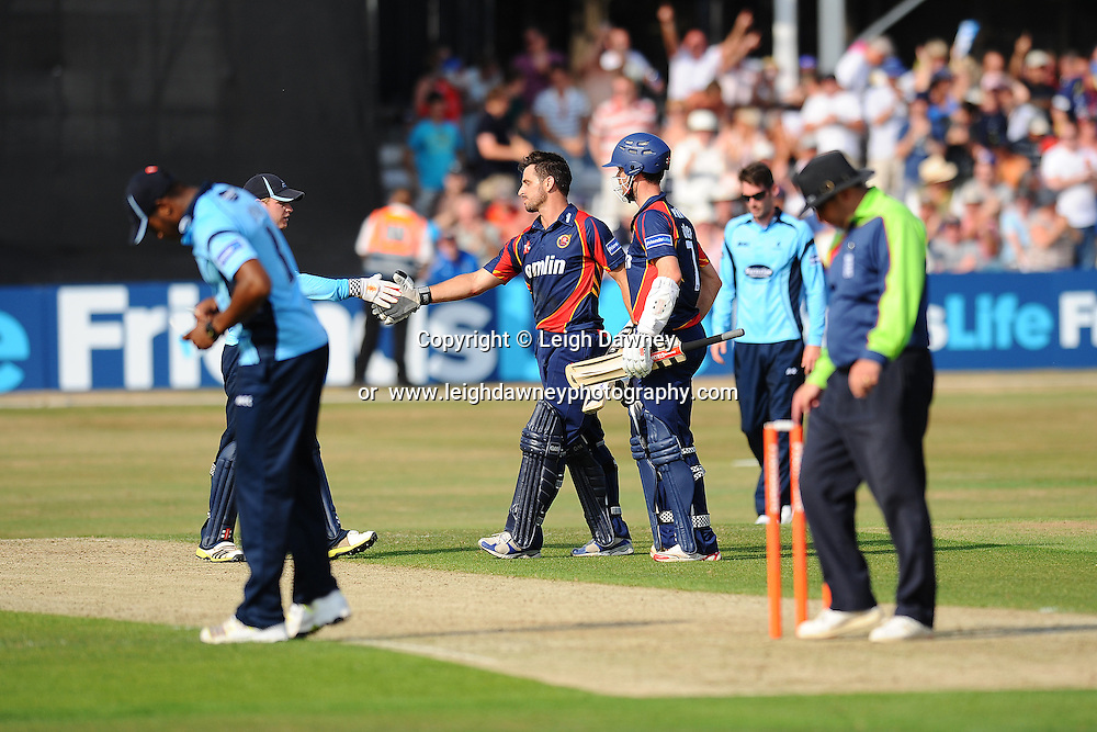 """Essex """"Eagles"""" defeat Sussex """"Sharks"""" after winning the Friends Life T20 between Essex """"Eagles"""" v Sussex """"Sharks"""". at the Essex County Cricket Ground on the 14th July 2013. Credit: © Leigh Dawney Photography. Self Billing where applicable. Tel: 07812 790920"""
