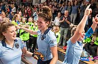HAMBURG  (Ger) - Match 20,  for FINAL, LMHC Laren - Dinamo Elektrostal (Rus) (3-1).  Photo: European Champion , LMHC Laren.  Pam van Asperen (Laren) ,  Maxime Kerstholt (Laren) , Lieke van Wijk (Laren)  Eurohockey Indoor Club Cup 2019 Women . WORLDSPORTPICS COPYRIGHT  KOEN SUYK