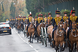 © Licensed to London News Pictures. 24/04/2015.  The King's Troop Royal Horse Artillery were joined by the Royal Artillery Band today for a Musical Drive rehearsal in preparation for their annual inspection next week. The rehearsal took place in Charlton Park, south east London, close to the barracks of the King's Troop RHA in Woolwich. King's Troop pictured in procession to Charlton Park from their base at Woolwich. Credit : Rob Powell/LNP