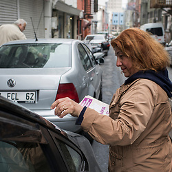 Volunteer Hulya Keskin, distributes flyers supporting the No vote on March 10, 2017 in the Sisli district of Istanbul.<br /> On April 16, 2017, Turkish citizens will vote on proposed changes on the constitution that could replace the current parliamentary government system with a presidential one.