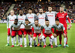 12.04.2018, Red Bull Arena, Salzburg, AUT, UEFA EL, FC Salzburg vs SS Lazio Roma, Viertelfinale, Rueckspiel, im Bild v.l. stehend Xaver Schlager (FC Salzburg), Reinhold Yabo (FC Salzburg), Andre Ramalho (FC Salzburg), Munas Dabbur (FC Salzburg), Duje Caleta-Car (FC Salzburg), Alexander Walke (FC Salzburg), v.l. vorne Amadou Haidara (FC Salzburg), Stefan Lainer (FC Salzburg), Andreas Ulmer (FC Salzburg), Valon Berisha (FC Salzburg), Hee Chan Hwang (FC Salzburg) // during the UEFA Europa League Quaterfinal, 2nd Leg Match between FC Salzburg and SS Lazio Roma at the Red Bull Arena in Salzburg, Austria on 2018/04/12. EXPA Pictures © 2018, PhotoCredit: EXPA/ Stefan Adelsberger