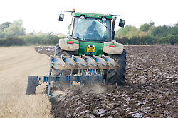 Tractor ploughing a field near Mappleton; East Yorkshire; England