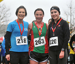 The first 3 ladies across the line in the Streets of Westport 5K run on New Year's Day, 3rd Niamh Murphy-Richardson, 1st Collette Touhy and 2nd Aoibhe Richardson.<br /> Pic Conor McKeown