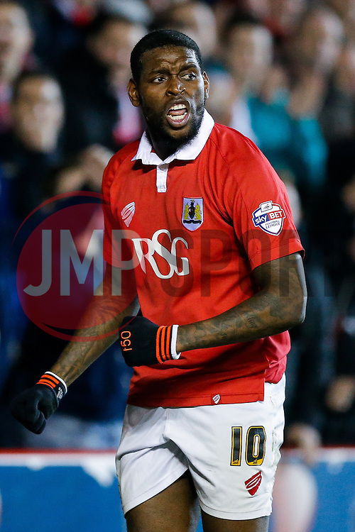 Jay Emmanuel-Thomas of Bristol City celebrates scoring a goal to make it 3-0 - Photo mandatory by-line: Rogan Thomson/JMP - 07966 386802 - 17/03/2015 - SPORT - FOOTBALL - Bristol, England - Ashton Gate Stadium - Bristol City v Crewe Alexandra - Sky Bet League 1.
