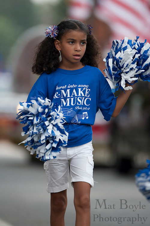 A member of Gloucester County Community Church cheerleads .during Pitman's annual 4th of July parade held in downtown Pitman monday.