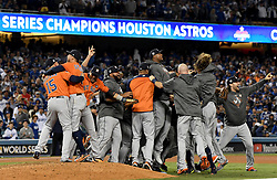 November 1, 2017 - Los Angeles, California, U.S. - Houston Astros celebrate after defeating the Los Angeles Dodgers in game seven 5-1 to win the World Series at Dodger Stadium on Wednesday Nov. 1, 2017 in Los Angeles. (Photo by Keith Birmingham, Pasadena Star-News/SCNG) (Credit Image: © San Gabriel Valley Tribune via ZUMA Wire)