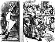 Lydia Ernestine Becker (1827-1890) British advocate of female suffrage, editor of 'Women's Suffrage Journal' 1870-90, leading the onslaught on John Bull's door in an effort to secure votes for women during  Reform of  Parliament. John Tenniel cartoon from 'Punch' London 28 May 1870.