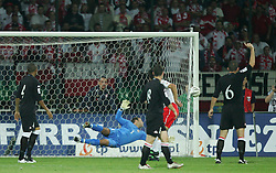 WARSAW, POLAND - WEDNESDAY, SEPTEMBER 7th, 2005: Wales' Danny Coyne pulls off an amazing save to push the ball around the post from a Poland header during the World Cup Group Six Qualifying match at the Legia Stadium. (Pic by David Rawcliffe/Propaganda)