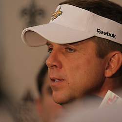 18 June 2009: Saints head coach Sean Payton talks following the end of New Orleans Saints Organized Team Activities held at the team's indoor practice facility in Metairie, Louisiana.