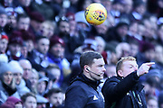 Neil Lennon barks instructions during the William Hill Scottish Cup 4th round match between Heart of Midlothian and Hibernian at Tynecastle Stadium, Gorgie, Scotland on 21 January 2018. Photo by Kevin Murray.