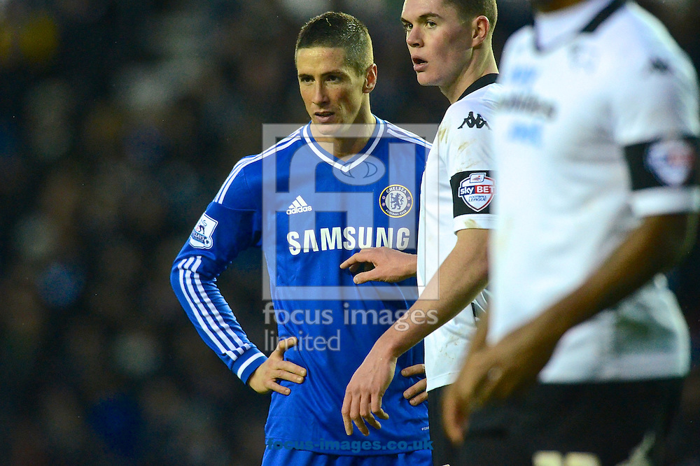 Picture by Ian Wadkins/Focus Images Ltd +44 7877 568959<br /> 05/01/2014<br /> Fernando Torres (left) of Chelsea during the The FA Cup match at the Ipro Stadium, Derby.