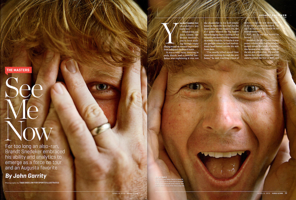 Brandt Snedeker profile photographed for Sports Illustrated Masters Preview issue.
