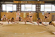 Professional Sumo Team (Musahigawa Beya) practicing in Nagoya, Japan before a tournament.