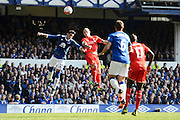 Liverpool defender Martin Skrtel beats Everton defender Ramiro Funes Mori to the header during the Barclays Premier League match between Everton and Liverpool at Goodison Park, Liverpool, England on 4 October 2015. Photo by Alan Franklin.