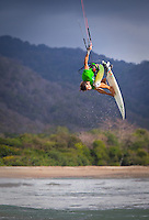 Pro rider Sky Solback does strapless air in lagoon in Indonesia.
