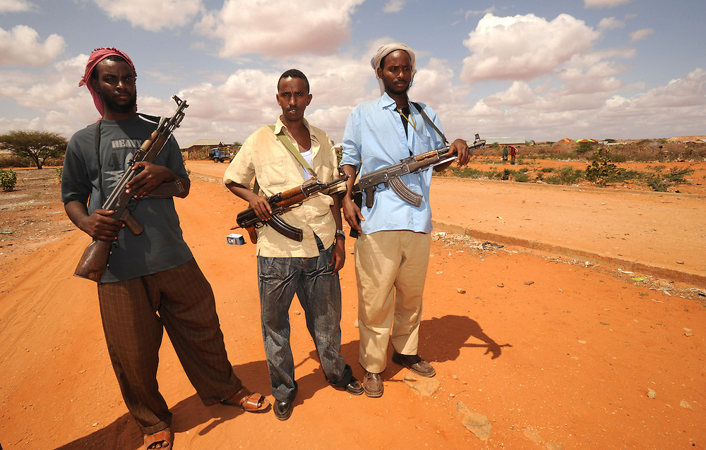 Somali militia on the Somali side of the border with Kenya near the town of Bulla Howa. 26/6/2008