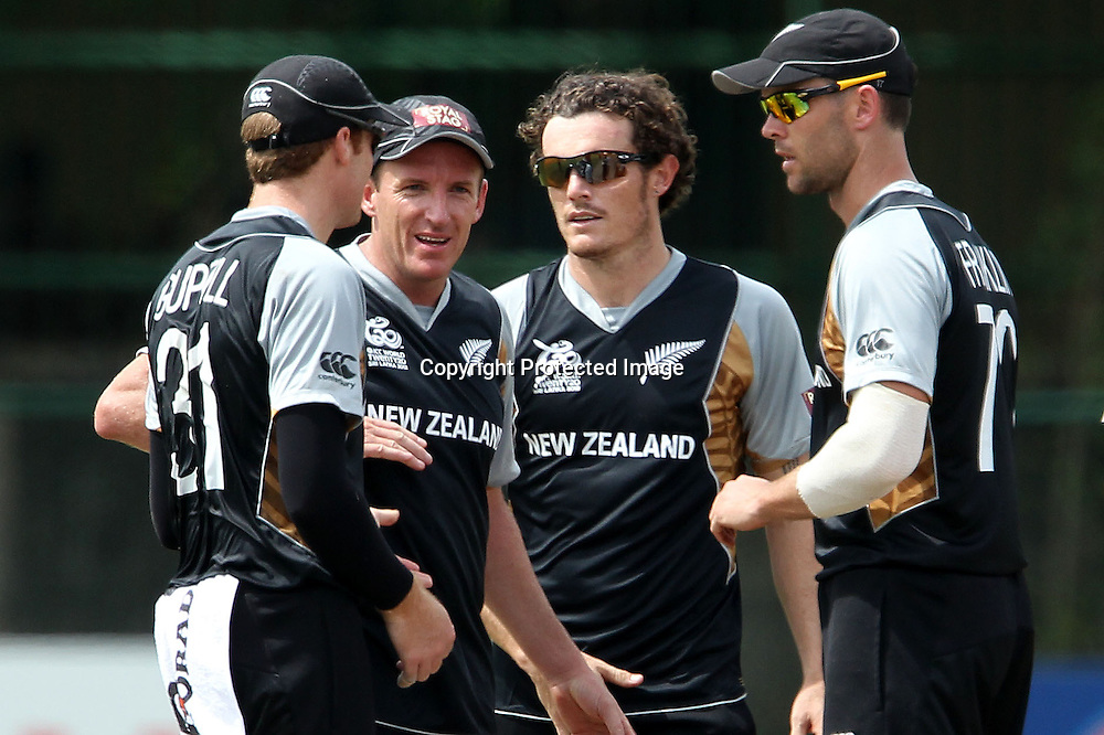 Rob Nicol celebrates the wicket of Hashim Amla during the ICC Twenty 20 World Cup warm up match between New Zealand and South Africa held at the Colts Cricket Club in Colombo, Sri Lanka on the 17th September 2012<br /> <br /> Photo by Ron Gaunt/SPORTZPICS/PHOTOSPORT