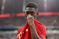 04.08.2015, Allianz Arena, Muenchen, GER, AUDI CUP, FC Bayern Muenchen vs AC Mailand, im Bild David Alaba (FC Bayern Muenchen #27) kuesst sein Trikot // during the 2015 AUDI Cup Match between FC Bayern Muenchen and AC Mailand at the Allianz Arena in Muenchen, Germany on 2015/08/04. EXPA Pictures © 2015, PhotoCredit: EXPA/ Eibner-Pressefoto/ Schüler<br /> <br /> *****ATTENTION - OUT of GER*****