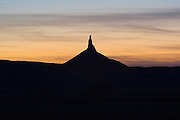 Scottsbluff, Nebraska NE USA, Chimney Rock at sunset