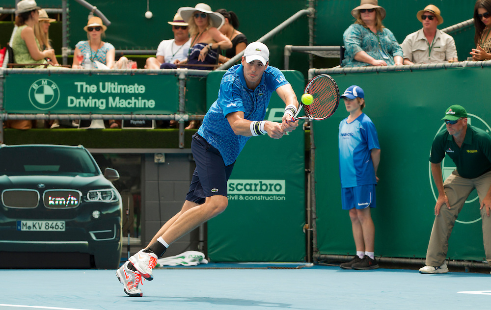 USA's John Isner in his second round singles match against Slovakia's Lukas Lacko at the Heineken Open Men's Tennis Tournament, Auckland, New Zealand, Wednesday, January 08, 2014.  Credit:SNPA / David Rowland
