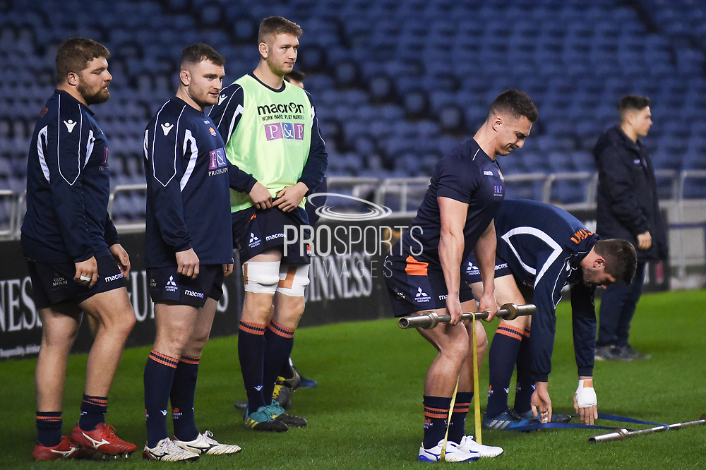 Warm up for Edinburgh players before the Guinness Pro 14 2018_19 match between Edinburgh Rugby and Cardiff Blues at Murrayfield Stadium, Edinburgh, Scotland on 23 February 2019.