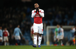 Arsenal's Alexandre Lacazette reacts after the final whistle during the Premier League match at the Etihad Stadium, Manchester.