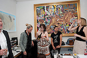 ANNA ABRAMOVICH; JAMES UNSWORTH; MELISSA DIGBY-BELL,  Private view and Summer party for Scream Now. An exhibitio of new work by gallery artists. Bruce French,, Derrick Santini, Greg Miller, Malgosia Stepnik, Pakpoom Silaphan, Petroc Sesti, Russell Young. Scream. Bruton st. London. 4 August 2011. <br /> <br />  , -DO NOT ARCHIVE-© Copyright Photograph by Dafydd Jones. 248 Clapham Rd. London SW9 0PZ. Tel 0207 820 0771. www.dafjones.com.