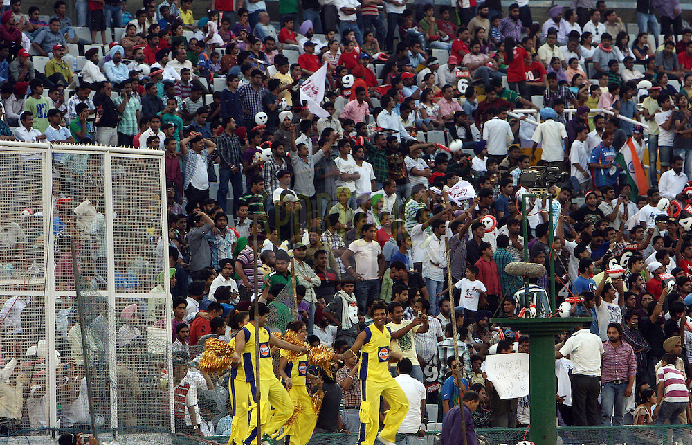 Crowd view during match 9 of the Indian Premier League ( IPL ) Season 4 between the Kings XI Punjab and the Chennai Super Kings held at the PCA stadium in Mohali, Chandigarh, India on the 13th April 2011..Photo by Money Sharma/BCCI/SPORTZPICS