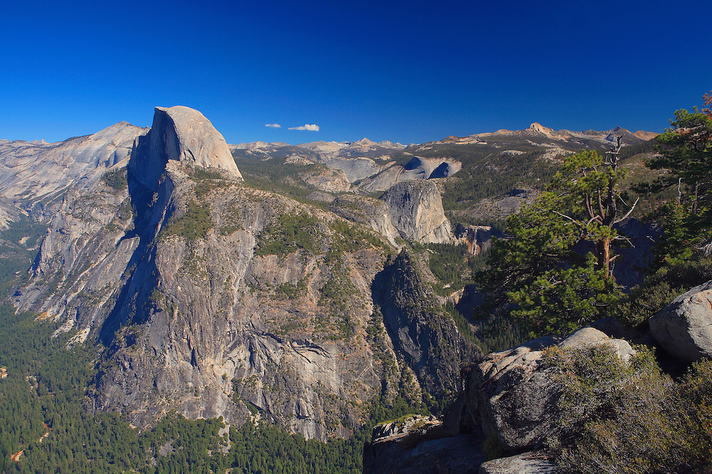 Half Dome, Liberty Cap And Little Yosemite Valley - Glacier Point - Yosemite