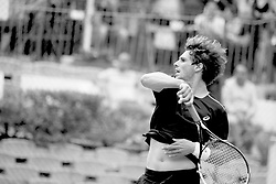 June 22, 2018 - L'Aquila, Italy - (EDITORS NOTE: Image has been converted to black and.white.) Filippo Baldi  during match between Filippo Baldi (ITA) and Paolo Lorenzi (ITA) during day 7 at the Internazionali di Tennis Citt dell'Aquila (ATP Challenger L'Aquila) in L'Aquila, Italy, on June 22, 2018. (Credit Image: © Manuel Romano/NurPhoto via ZUMA Press)