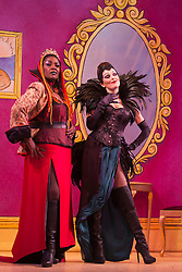"""© Licensed to London News Pictures. 27/11/2013. London, England. Sharon D Clarke as Queen Talulah the Hoo Ha and Josefina Gabrielle as the Evil Witch Evilena. The Christmas Panto """"Puss in Boots"""" opens at the Hackney Empire, London. With Kat B in the title role, written and directed by Susie McKenna. Photo credit: Bettina Strenske/LNP"""