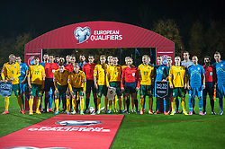 Players in action against racism during football match between National teams of Lithuania and Slovenia at Round 3 of Euro 2016 Qualifications, on October 12, 2014 in Vilnius, Lithuania.  Photo by Robertas Dackus / Sportida.com