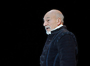Bingo<br /> scenes of money and death <br /> by Edward Bond<br /> at The Young Vic, London, Great Britain <br /> press photocall<br /> 22nd February 2012<br /> <br /> directed by Angus Jackson <br /> <br /> Patrick Stewart (as William Shakespeare)<br /> <br /> with <br /> Richard McCabe (as Ben Johnson)<br /> <br /> and <br /> <br /> <br /> Catherine Cusack (as Judith)<br /> <br /> Photograph by Elliott Franks
