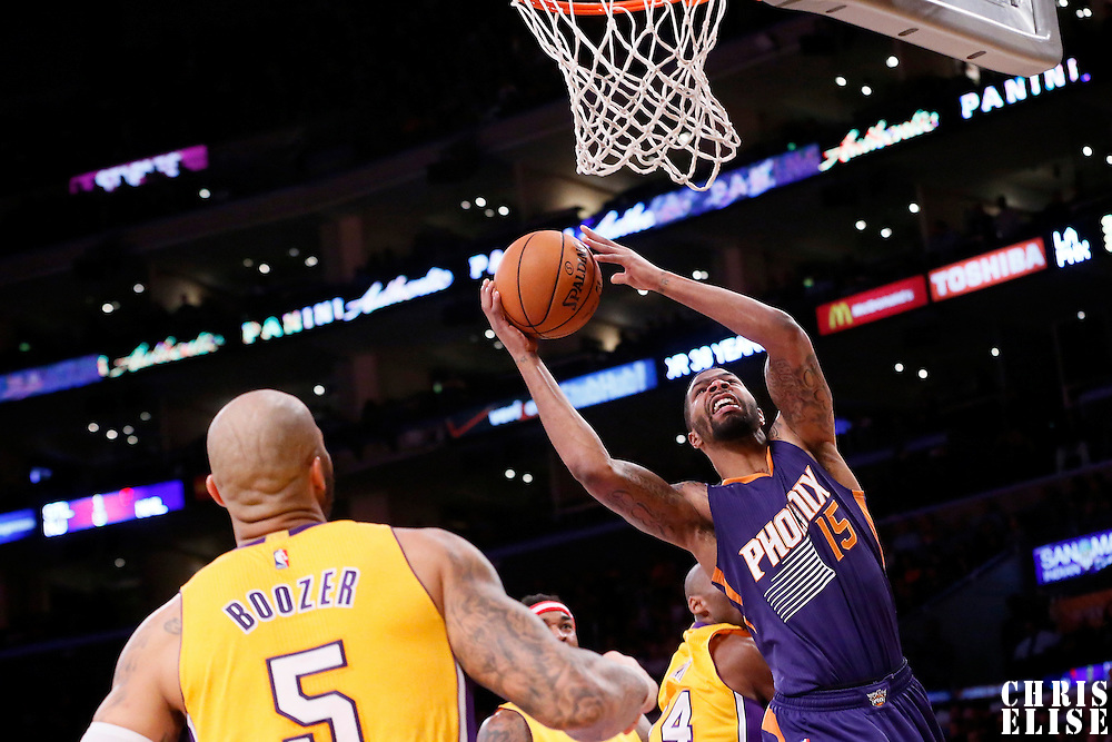 04 November 2014: Phoenix Suns forward Marcus Morris (15) goes for the layup during the Phoenix Suns 112-106 victory over the Los Angeles Lakers, at the Staples Center, Los Angeles, California, USA.