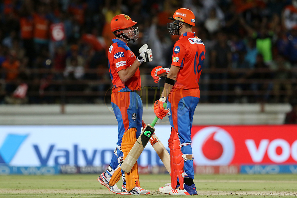 James Faulkner of the Gujarat Lions and Andrew Tye of the Gujarat Lions during match 35 of the Vivo 2017 Indian Premier League between the Gujarat Lions and the Mumbai Indians  held at the Saurashtra Cricket Association Stadium in Rajkot, India on the 29th April 2017<br /> <br /> Photo by Vipin Pawar - Sportzpics - IPL