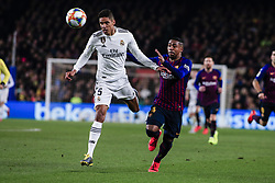 February 6, 2019 - Barcelona, Spain - 05 Varane of Real Madrid defended by 14 Malcom of FC Barcelona during the semi-final first leg of Spanish King Cup / Copa del Rey football match between FC Barcelona and Real Madrid on 04 of February of 2019 at Camp Nou stadium in Barcelona, Spain  (Credit Image: © Xavier Bonilla/NurPhoto via ZUMA Press)