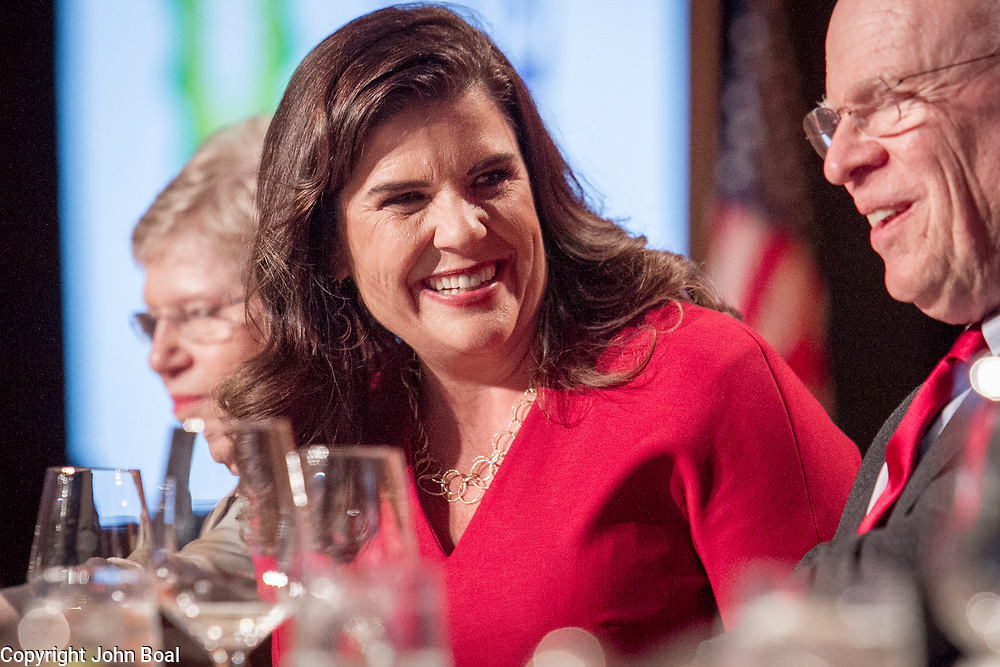 Nicole Carroll speaks with Knight Kiplinger and Clarence Page on the dais during the National Press Foundation awards dinner in Washington, D.C. on Thursday, February 15, 2018. Carroll received the Benjamin C. Bradlee Editor of the Year Award.  Carroll, who had been at the Arizona Republic since 1999, was named the editor in chief of USA TODAY on Wednesday, February 14, 2018.  --    Photo by John Boal, Freelance