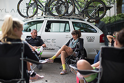 Cylance Pro Cycling hold a last tactical meeting before start of  the Prudential RideLondon Classique, a 66 km road race in London on July 30, 2016 in the United Kingdom.