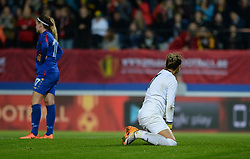 September 19, 2017 - Heverlee, BELGIUM - Moldavia's goalkeeper Margarita Panova look dejected during a soccer game between Belgium's Red Flames and the Republic of Moldova, a qualification match for the women's World Cup 2019 Tuesday 19 September 2017, in Heverlee, Leuven. BELGA PHOTO DAVID CATRY (Credit Image: © David Catry/Belga via ZUMA Press)
