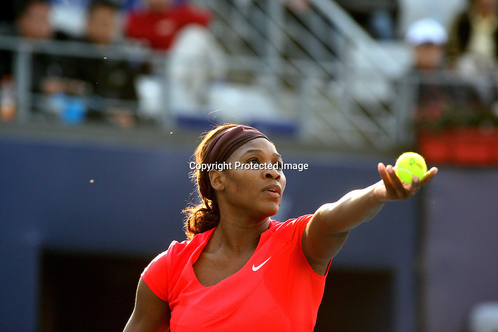 Oct 06, 2009, Beijing, China, Serena Williams of USA defeats Ekaterina Makarova of Russia 2:0 in the second round of China Open at the National Tennis Center.