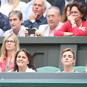LONDON, ENGLAND - JULY 15:  Conchita Martinez, coach of Garbine Muguruza of Spain, (left), in the family box during the Ladies Singles final against Venus Williams of The United States in the Wimbledon Lawn Tennis Championships at the All England Lawn Tennis and Croquet Club at Wimbledon on July 15, 2017 in London, England. (Photo by Tim Clayton/Corbis via Getty Images)