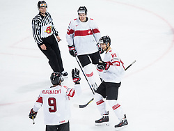 Thomas Rufenacht of Switzerland, Reto Schappi of Switzerland and Cody Almond of Switzerland celebrate after scoring second goal during the 2017 IIHF Men's World Championship group B Ice hockey match between National Teams of Norway and Switzerland, on May 7, 2017 in Accorhotels Arena in Paris, France. Photo by Vid Ponikvar / Sportida