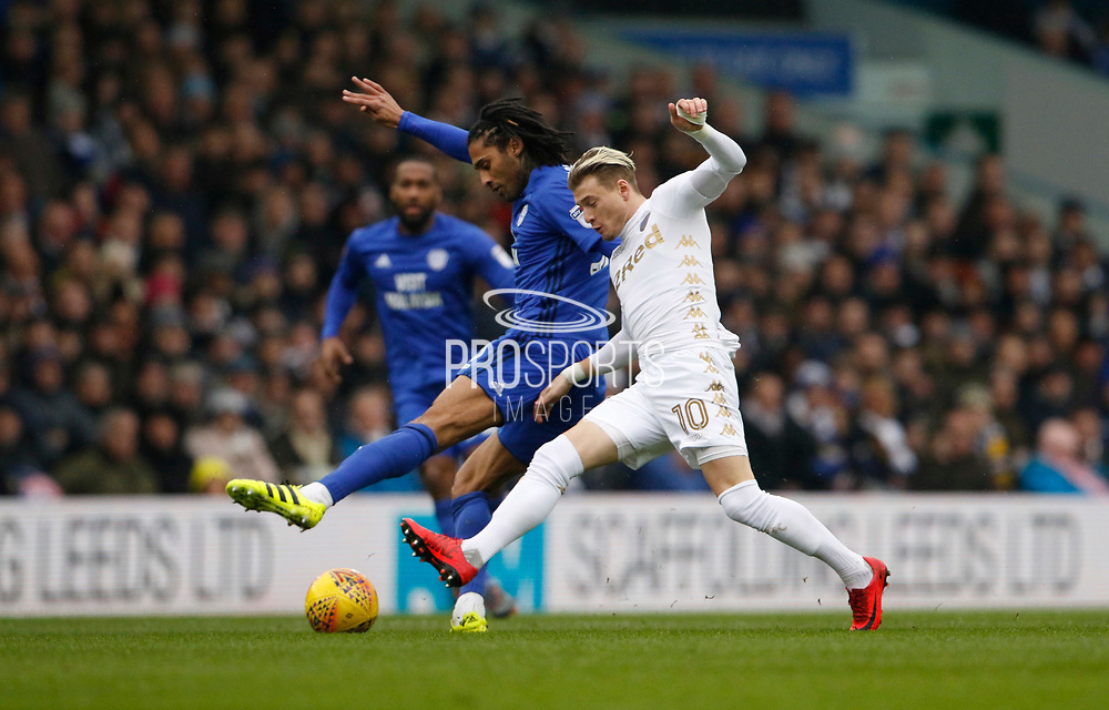 Cardiff City midfielder Armand Traoré and Leeds United midfielder Ezgjan Alioski (10) contest a loose ball  during the EFL Sky Bet Championship match between Leeds United and Cardiff City at Elland Road, Leeds, England on 3 February 2018. Picture by Paul Thompson.