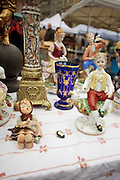 The Naschmarkt, Vienna's biggest market. Saturday flea market. Porcelaine figures.