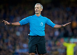 LIVERPOOL, ENGLAND - Sunday, October 7, 2018: Referee Martin Atkinson during the FA Premier League match between Liverpool FC and Manchester City FC at Anfield. (Pic by David Rawcliffe/Propaganda)
